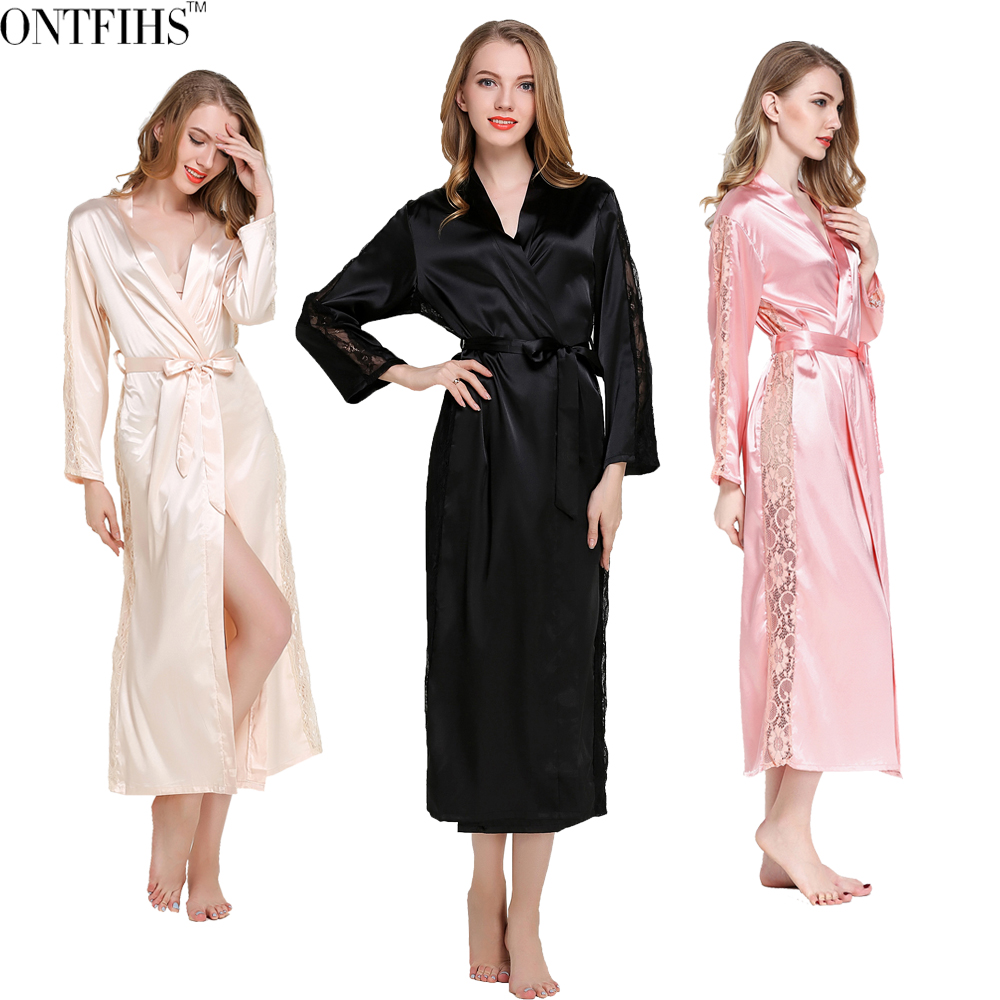 ONTFIHS Silk Satin Sleepwear <font><b>Robes</b></font> Womens Long Sleeve Pajamas Nightwear Femme Lounge Pyjama Black Champagne Pink <font><b>Robe</b></font> One Size