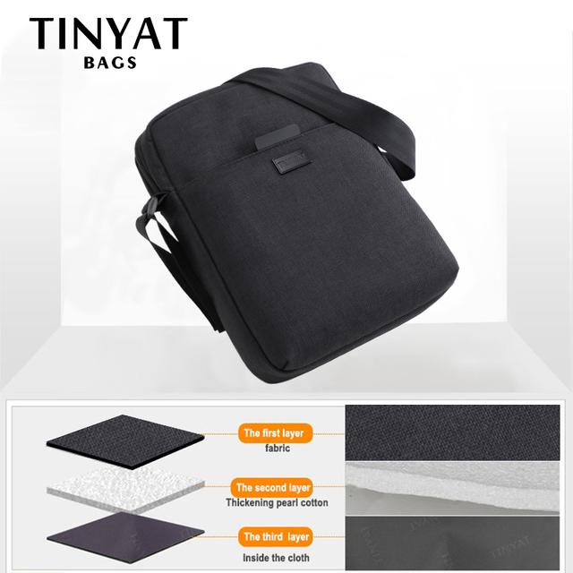 TINYAT Light Canvas Men's Shoulder Bag For 7.9′ Ipad Casual Crossbody Bag Waterproof Messenger Bag Pack sling bag for men 0.13kg