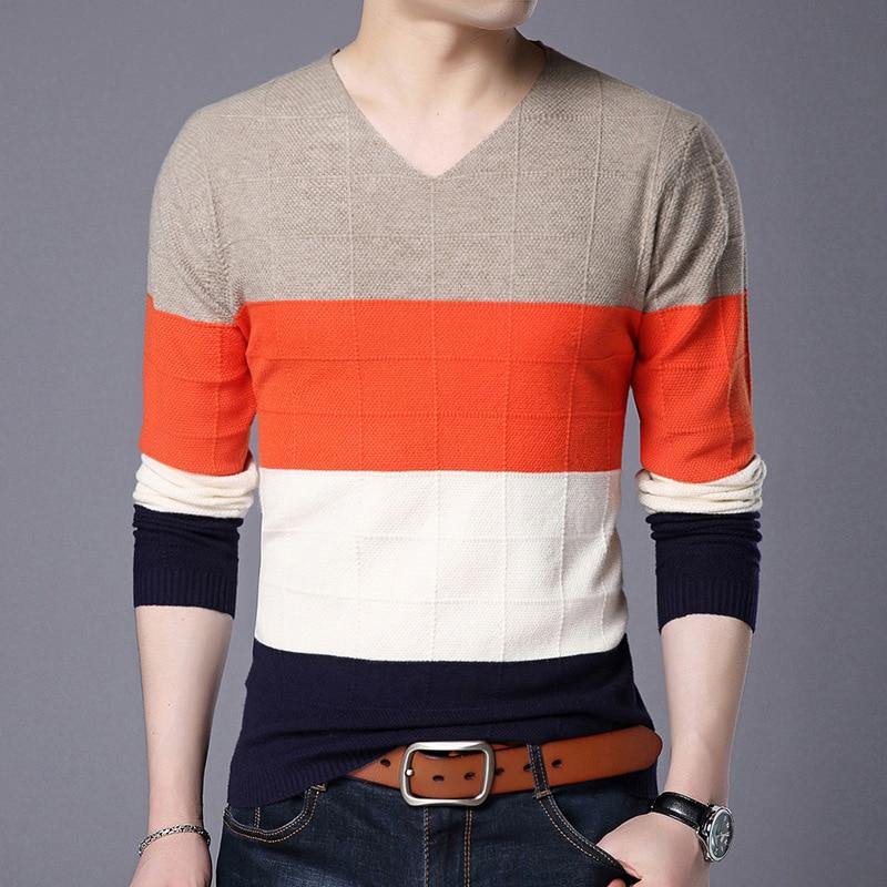 2018 Autumn Fashion Brand Men Cotton V Neck Casual Patchwork Sweater Men's Cashmere Sweater Jumper For Men Pullover M 3XL
