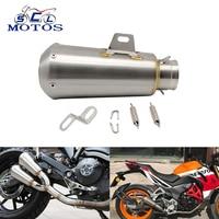 Sclmotos 51mm Stainless Steel Modified Motorcycle Muffler Pipe Exhaust Dirt Bike,Street Bike,Scooter MT07 MT09 FAZER Racing