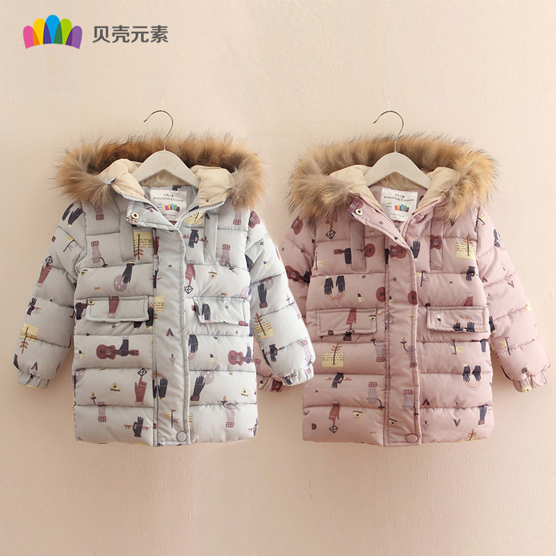 Winter Autumn Children Girls Coat Clothes Lovely Printing Kids Cotton Clothing Outerwear Thicker Hooded Toddler Girl Jacket Top