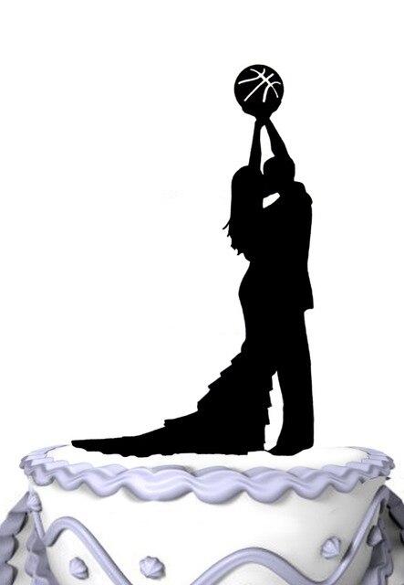 Lustige Besen Und Gride Halten Basketball Hochzeitstorte Topper