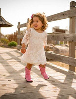 Suave blanco flor niñas Encaje, Encaje vestido para bebés, niños y niñas Boho vestido de la muchacha de flor, vestido de novia