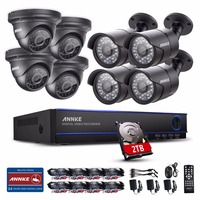 ANNKE 8CH 2 0MP 1080P HD DVR 2TB HDD IR Night Vision Home Security Camera System
