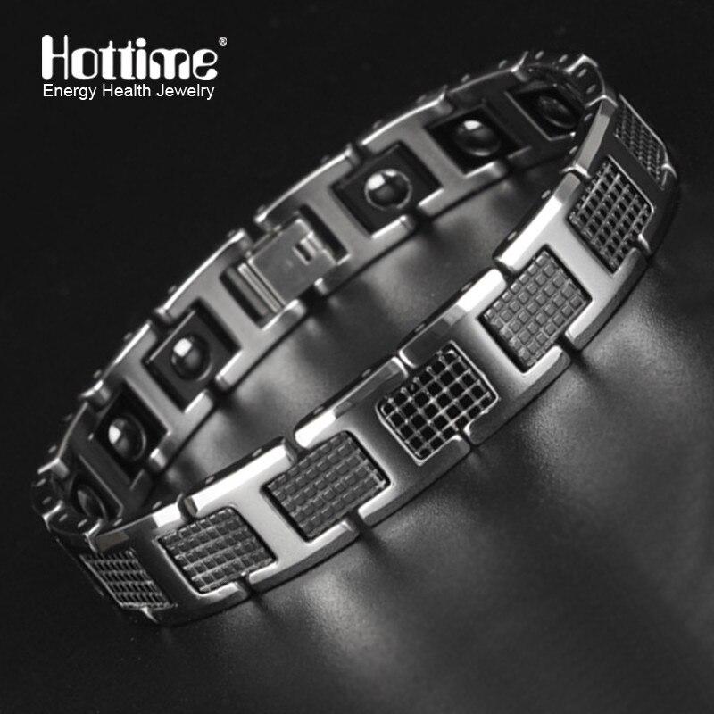 New Tungsten Men's Health Energy Magnetic Stone Luxury Black Plated Germanium Bracelet Men Bracelets Bangles Jewelry 8.2 inch