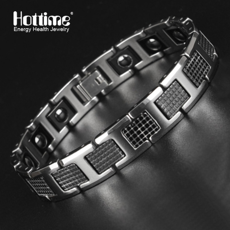 New Tungsten Men's Health Energy Magnetic Stone Luxury Black Plated Germanium Bracelet Men Bracelets Bangles Jewelry 8.2 inch
