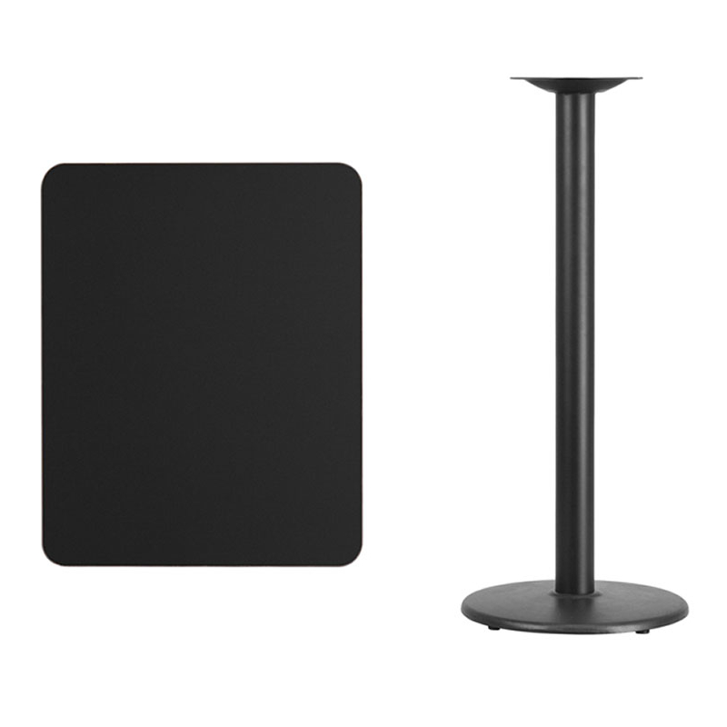 Flash Furniture 24'' x 30'' Rectangular Black Laminate Table Top with 18'' Round Bar Height Table Base virginia cavaliers l211 42 tall logo pub table by holland bar stool company with black wrinkle base and 28 table top diameter