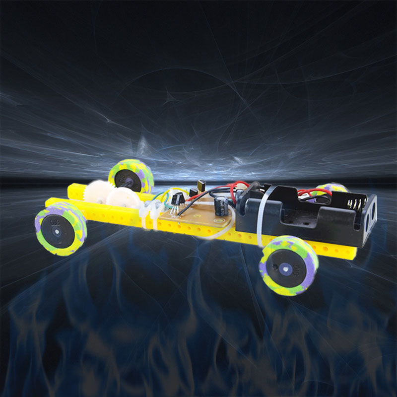 DIY Assembled Two-stroke Remote Control Car Puzzles Toys Model Building Toy For Kid Learning Smart Robot Car Tank Chassis RC Toy