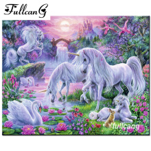 FULLCANG Diamond Painting Cross Stitch Swan Unicorn Diy 5D Embroidery Crystal Full Square Mosaic Pictures F934