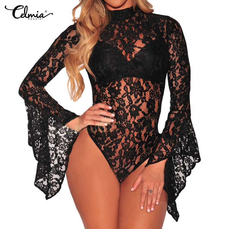 Celmia Sexy Bodysuit Lace Body Women Jumpsuits 2018 Printed Backless Rompers Flare Sleeve See Through Bodycon Tops Plus Size