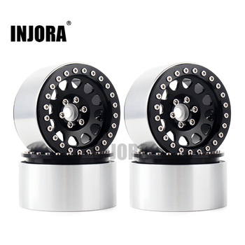 INJORA 4PCS 1/10 RC Rock Crawler Aluminum 2.2 Beadlock Wheel Rims for Axial SCX10 RR10 Wraith 90048 90018 Traxxas TRX4 TRX-6 1