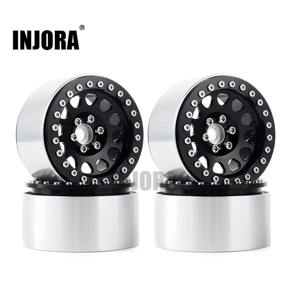 INJORA 4 piezas 1/10 RC Rock Crawler de aleación de aluminio de 2,2 Beadlock rueda llantas para Axial SCX10 RR10 espectros 90048 90018 Traxxas TRX4