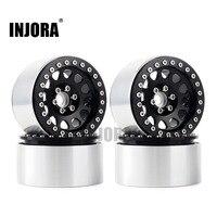 INJORA 4PCS 1/10 RC Rock Crawler Aluminum Alloy 2.2 Beadlock Wheel Rims for Axial SCX10 RR10 Wraith 90048 90018 Traxxas TRX4