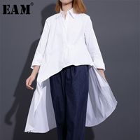 EAM 2018 New Spring Lapel Long Sleeve White Irregular Big Hem Loose Shirt Women Blouse