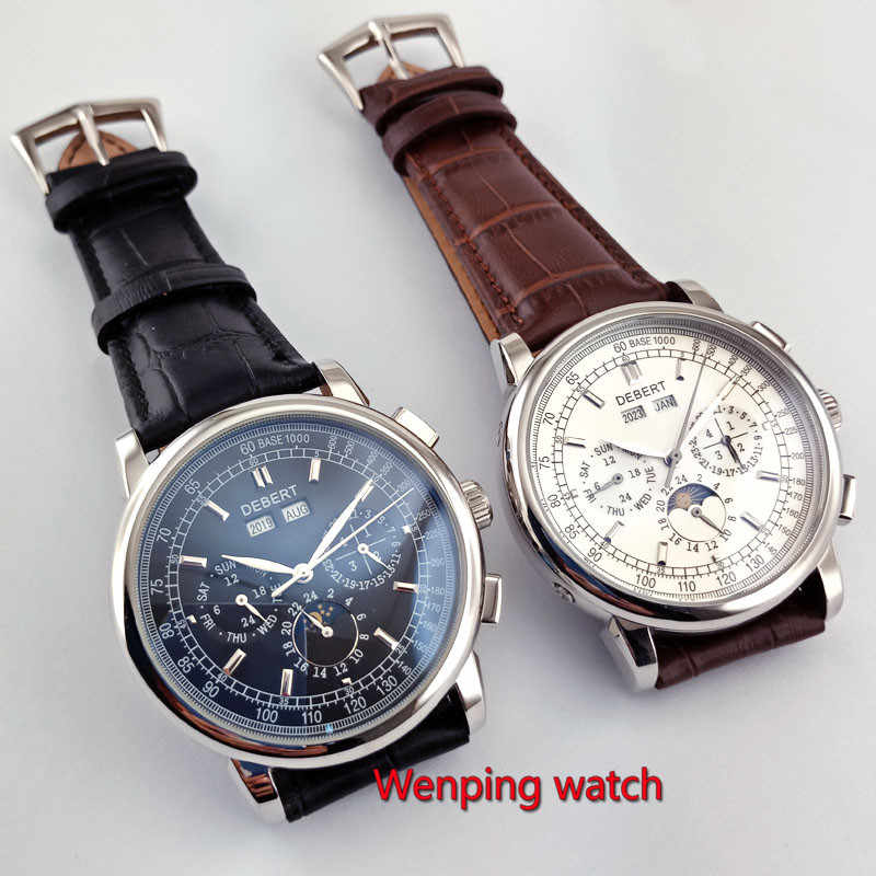 Célèbre marque 42mm debert cadran blanc date jour café bracelet multifonction automatique hommes montre