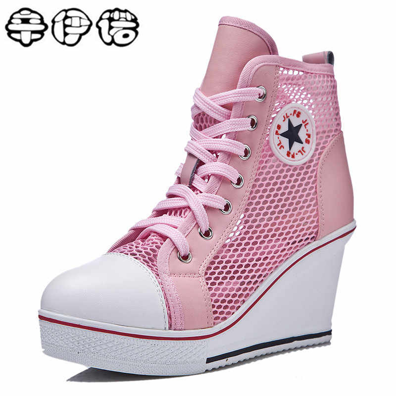 5713f5397aba ... Women Shoes Sexy Wedges Super High Heels Lace Up White Casual Shoes  Women s Party Shoes Chaussure ...