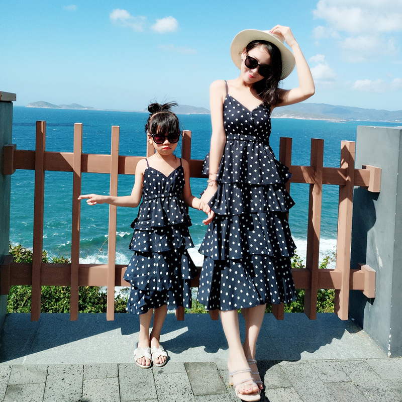 Family Matching Mother Daughter Mommy And Me Clothes Family Look Girls Korean Clothing Women Summer Beach Dress Outfits 29