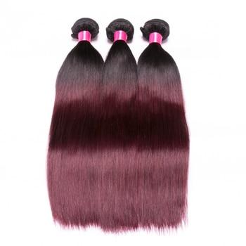 Ombre Brazilian Straight Hair Weave Bundles 1B 99J Burgundy Two Tone Human Hair Bundles Non Remy 3 Bundles Hair Extension 4
