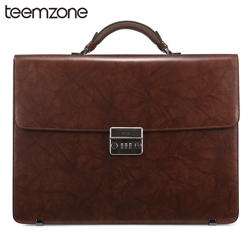 teemzone 14 Laptop Mens Top Genuine Leather Vintage Password lock Business Lawyer  Briefcase Messenger Totes Portfolio T1016