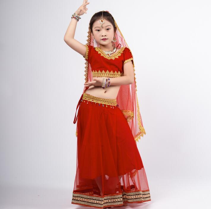 India Sarees Traditional Lehenga Choli Children Bellydance Costume Performance Cotton Top+Veil+Skirt