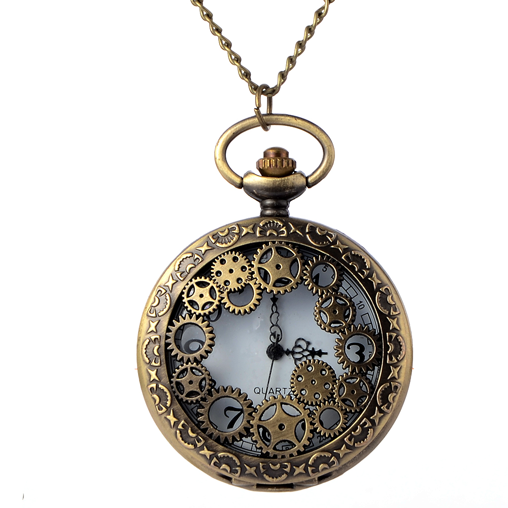 Retro Bronze Gear Hollow Pocket Watches With Chain Men Steampunk Pendant Necklace Watch Gift for Lovers free shopping wholesale otoky montre pocket watch women vintage retro quartz watch men fashion chain necklace pendant fob watches reloj 20 gift 1pc