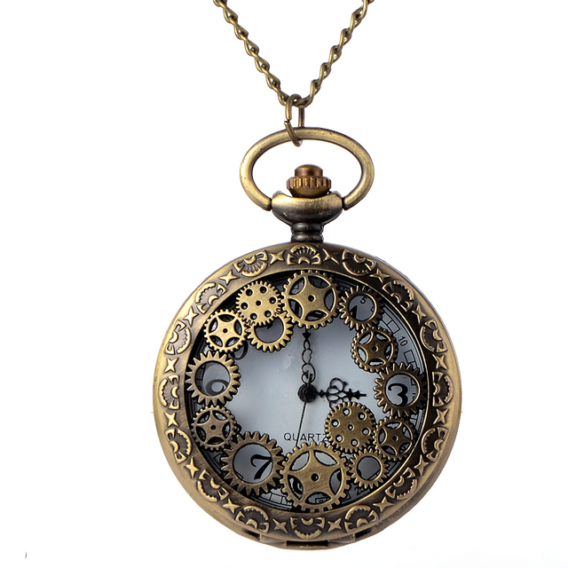 Retro Bronze Gear Hollow Pocket Watches With Chain Men Steampunk Pendant Necklac