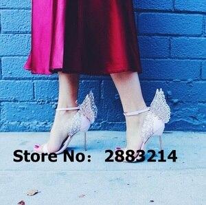 Image 4 - Evangeline sandale dange dorée, escarpins de mariage en cuir véritable, rose à paillettes, chaussures à talons hauts 3D, papillon, taille 42