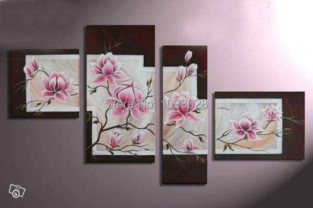 Main Mur Art Rose Fleurs Peinture à L Huile Sur