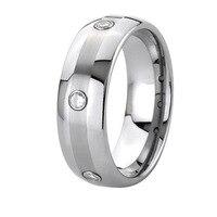 8mm Handgemachte Maßschneider 3 stein CZ stein titan ring männer modeschmuck full size 5-15