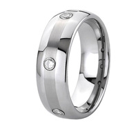 8mm Handmade Custom Tailor 3 stone CZ stone titanium ring men fashion jewelry full size 5 15