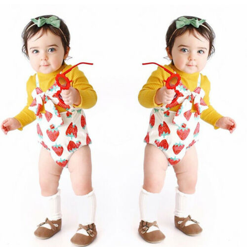 Cute Summer Newborn Kid Baby Girl Strawberry Bodysuit Romper Cotton Jumpsuit Outfits Clothes