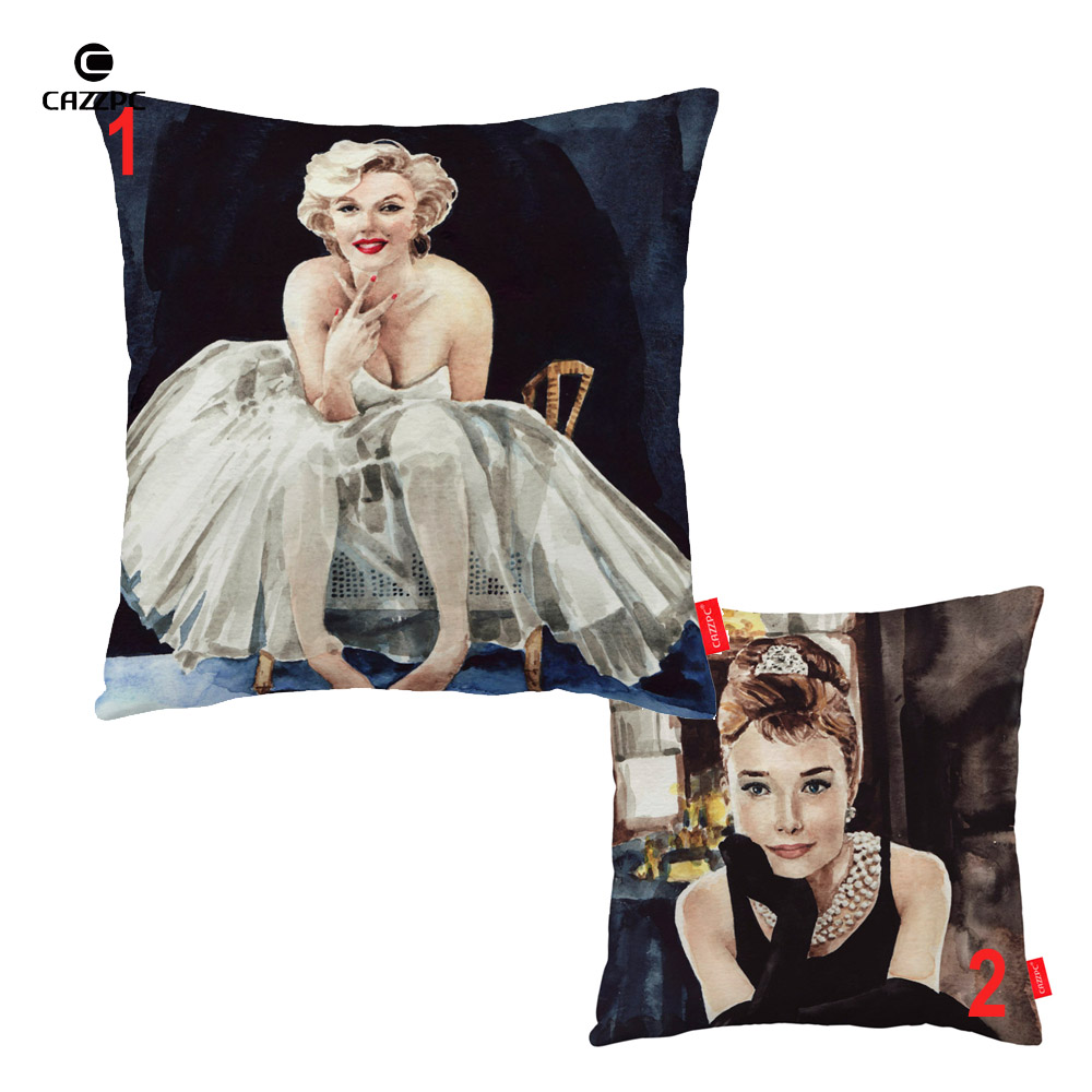 Marilyn monroe french chair - Vintage Super Star Marilyn Monroe Audrey Hepburn Poster Print Decorative Pillowcase Cushion Covers Sofa Chair Home