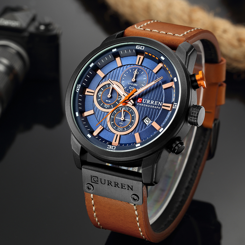 CURREN 8291 Luxury Brand Men Analog Digital Leather Sports Watches Men\`s Army Watch Man Quartz Clock Relogio Masculino drop shipping wholesale cheap black case blue dial (3)