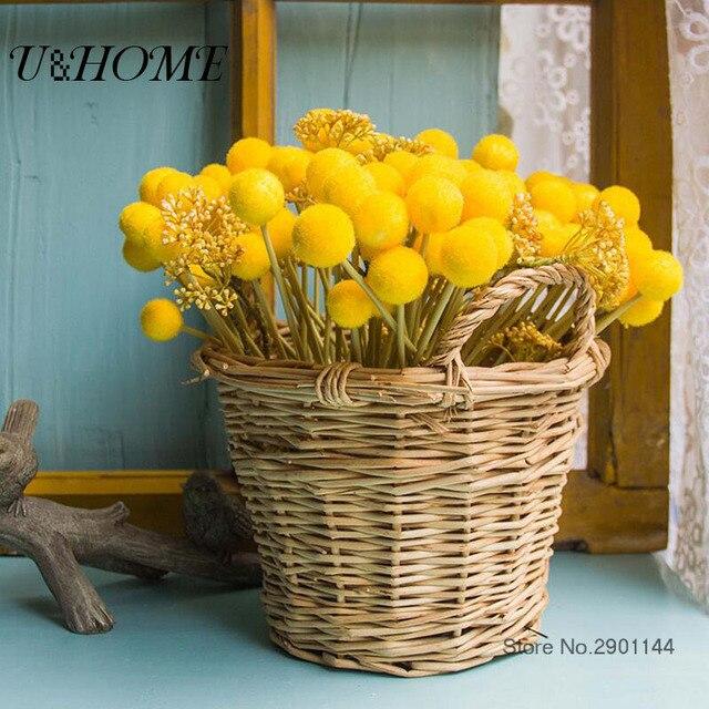 12 Pcs Tas D Or Balle Jaune Pompon Fleurs Artificielles Sec En