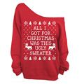 2017 de la moda hoodies de las mujeres Fuera del hombro de la manga completa de explosión del comercio Exterior de Navidad serie de rampas de impresión sudadera 6342