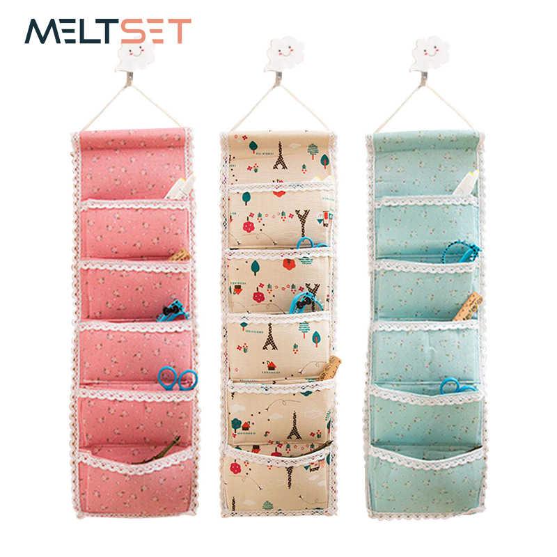 Linen Cotton 5 Pocket Wall Hanging Bag