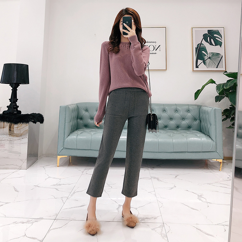 Set women's sweater pants two-piece 2018 autumn and winter new goddess temperament solid color wild thin women's clothing