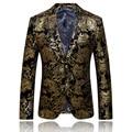 2017 chegada nova marca de moda homens blazer de ouro original de alta qualidade slim fit homens terno traje homme blazer masculino/XF40