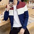 2016 Spring Autumn High fashion Casual Slim Jacket Men Black/Wine Patchwork Style Jackets and coats High Quality plus size