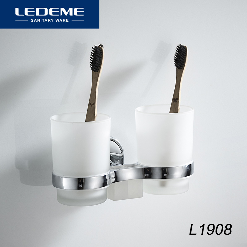 LEDEME Bathroom Toothbrush Holder Frosted Glass Double Cup Tumbler Holders Bath Cups Matte Wall Mount Toilet Accessories L1908 image