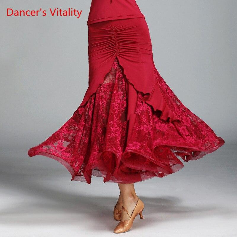 Dancer's Vitality 2017 New Arrival Ballroom Dance Skirt Inverted V Type Net Yarn For Salsa Samba Tango Ballroom Costume Skirt