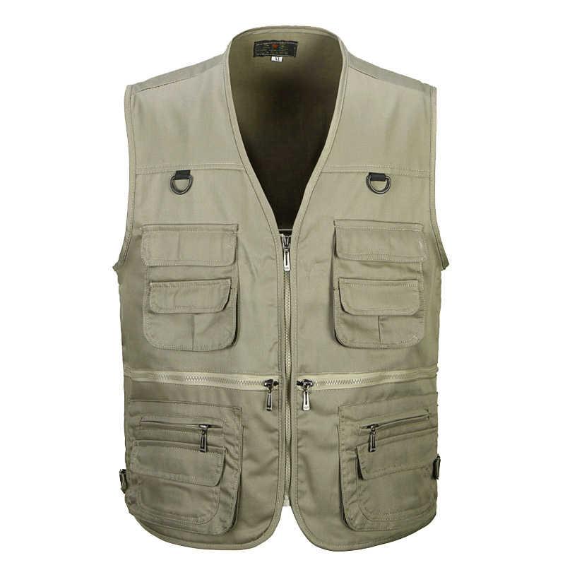 4 цвета мужской повседневный жилет с карманами для лета Мужчины сплошной фотограф съемки верхняя одежда молния жилет куртка-безрукавка