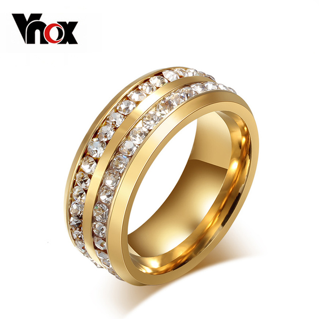 Vnox Two Row Crystal Ring for Women Gold-color Stainless Steel Wedding Elegant A