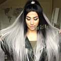 Cheap Hot Sale Straight Black Ombre Sliver Grey Synthetic Lace Front Wig Gray Glueless Heat Resistant Fiber For Black Women