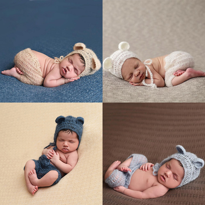 Newborn Photography Props Mohair Newborn Clothing Little Bear Hat+Pants Set Crochet Infant Clothes Baby Photo Props Accessories