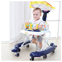 Infant Child Baby Walkers Multi function Anti Rollover Hand Push Baby Learning Walkers with 8 Wheels Music Song Walker Stroller