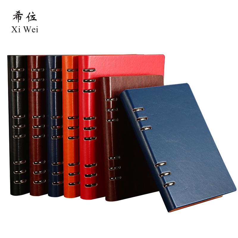 A5 Business Office Loose Leaf 6 Hole Detachable Notebook Stationery Creative Thick Notepad Custom Logo journal leather diary vintage logo custom writing pads commercial office leather notebook stationery a5 loose leaf diary spiral diary notepad