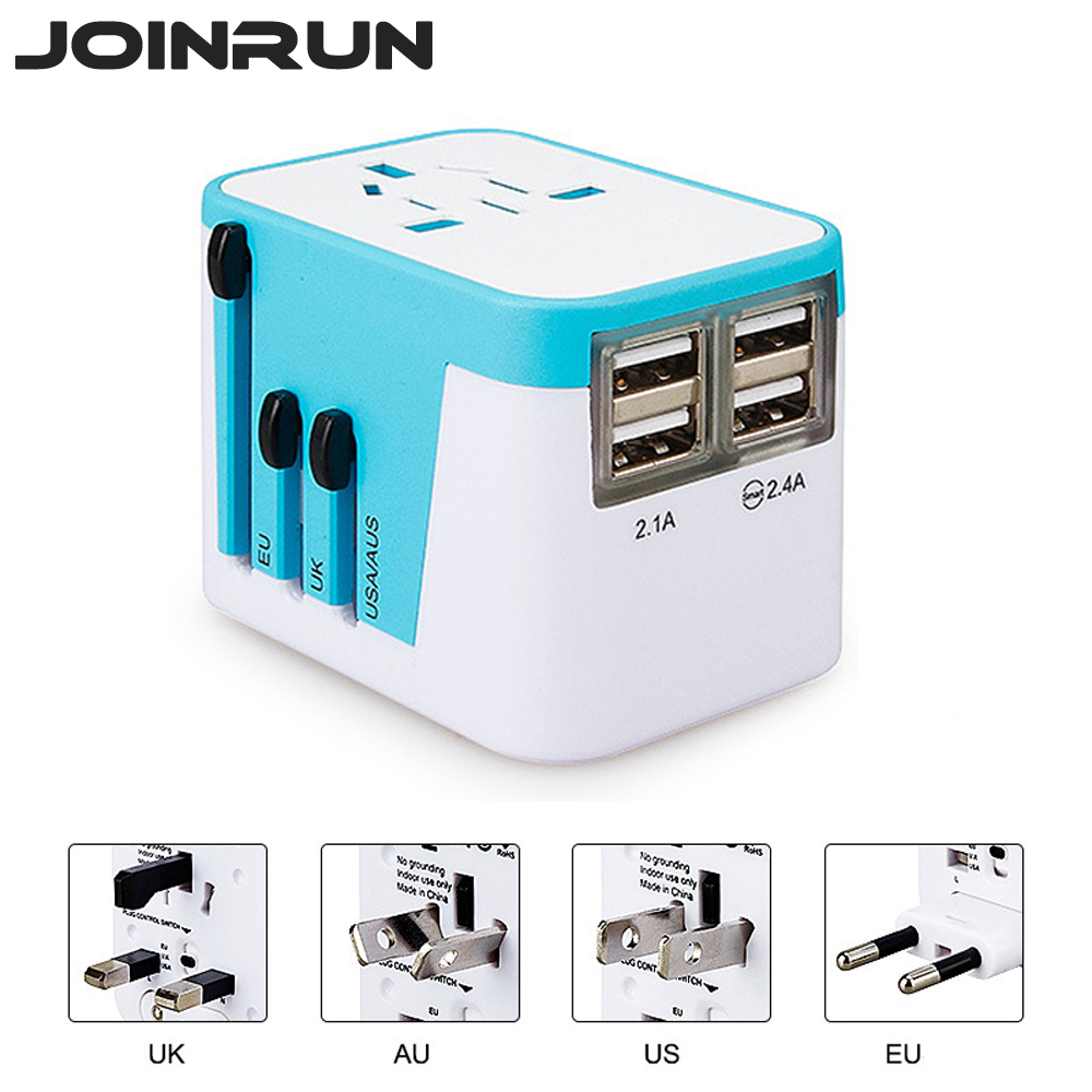 Joinrun Adattatore Universale di Corsa Elettrica Spine Prese con 4 USB di Ricarica port US/AU/UK/EU 2.4A Indicatore LED di Alimentazione