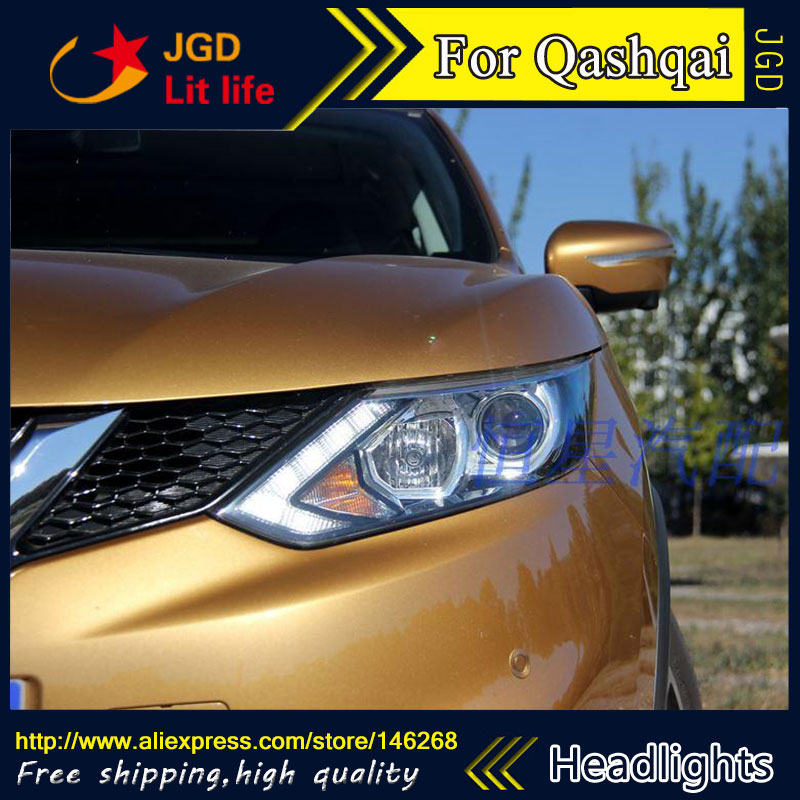 Free shipping ! Car styling LED HID Rio LED headlights Head Lamp case for Qashqai 2015 2016 Bi-Xenon Lens low beam  free shipping car styling led hid rio led headlights head lamp case for chevrolet camaro bi xenon lens low beam