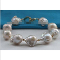8.5 Genuine Natural 19mm White Baroque Reborn Keshi Pearl Bracelet 14k #f2426!^^^@^Noble style Natural Fine jewe SHIPPING 6.2 6